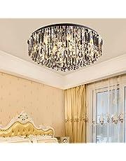 Lyxig kristallkrona 48 cm rund taklampa kristall taklampa 110 V–240 V modern kristall LED taklampa för vardagsrum kök kontor sovrum matsal ö