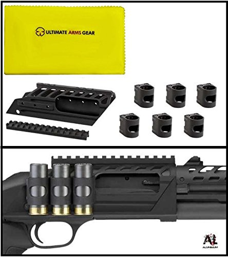 ATI Mossberg 500/590 Halo Side Saddle Six Piece Shot Shell Carrier + Ultimate Arms Gear Care and Reel Silicone Lubricated Cleaning Cloth
