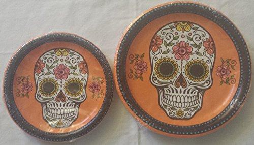 Halloween Skull Day of the Dead Dessert or Dinner Paper Plates (60, 8.75