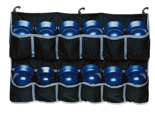 Baseball Helmet Bags - EASTON Hanging Team Helmet Bag | 2019 | Black | Reinforced Nylon Slots Holds Up To 12 Helmets | 3 J Designed Fence Hooks for Dugout Functionality