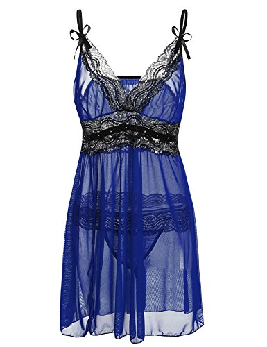 Sweetnight Women Plus Size L_5XL Lace Lingerie Set Semi Sheer Chemise Babydoll Dress with G-String (L, Blue) by Sweetnight