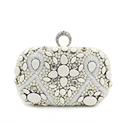Hibags Women Beaded Pearl Clutch Bag Party Bridal Handbag Evening Bags