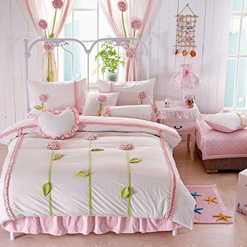 Bedskirt Bloom (Norson Rustic Dandelion 3d Bedding Set Purple,kids Unique Flannel Ruffle Duvet Cover,princess Vintage Handmade Bed Skirt,queen Size,4pcs (White, Twin))