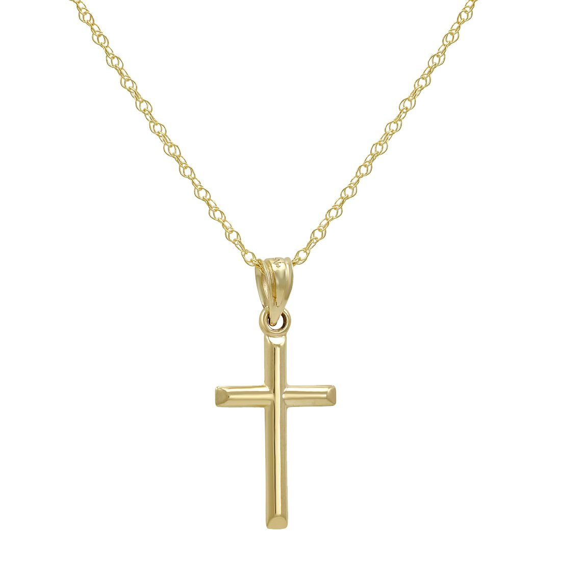14k Yellow Gold Cross Pendant Necklace on an 18 in. chain by Amanda Rose Collection