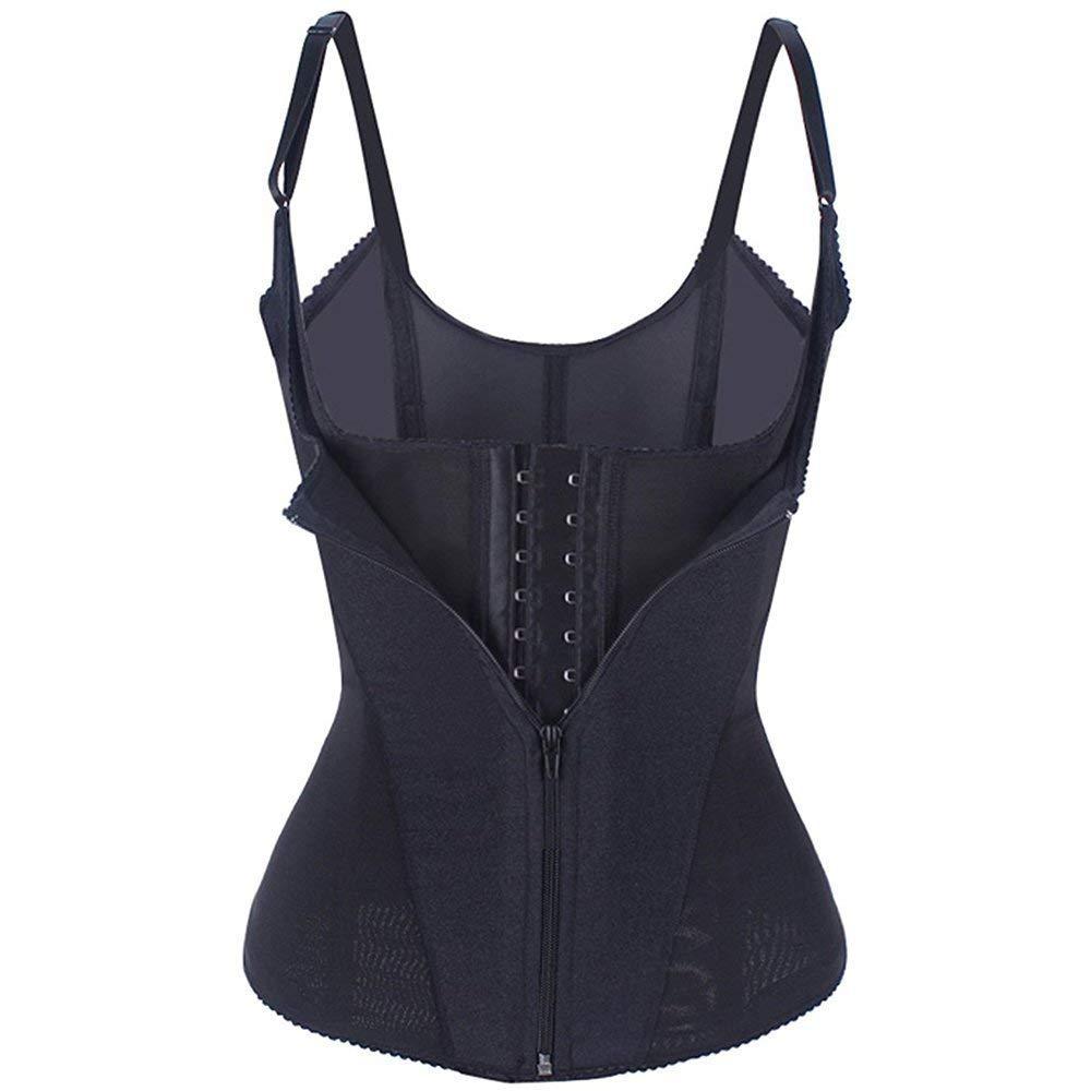 Miss-Loly Women\'s Vest Waist Trainers Body Shapewear with Zipper Adjustable Straps Tops Black M