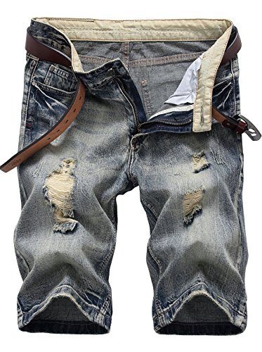 IWOLLENCE Men's Fashion Ripped Distressed Straight Fit Denim Shorts With Hole Copper Gray-US (Button Fly Denim Shorts)