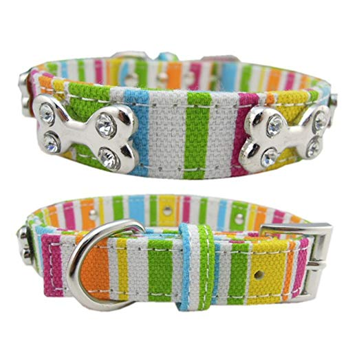 Bone Adjustable Collar - Puppy Bark Collar - Adjustable Bone Shape Rainbow Color Canvas Harness Collar Puppy Leash Lead Pet - No Remote For Xs Dogs Shock Small With Petsafe