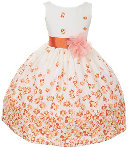 100% Cotton Floral Spring Easter Flower Girl Dress in Orange Daisy - 6