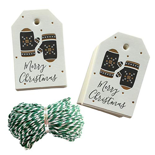 100Pcs Christmas Gift Tags with String – Gold Foil Merry Christmas Gift Wrap Tags with 100 Feet Twine – Kraft Paper Label Hang Tags for Christmas (Gloves)