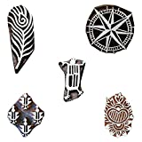 Printing Block Wooden Peacock Feather, Warli Art, Compass and Floral Textile Stamp Tattoo Clay Pottery Heena Craft Stamps Blocks Set of 5