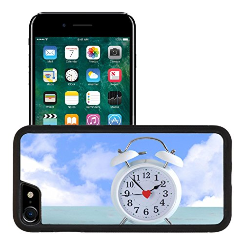 Liili Apple iPhone 7 iPhone 8 Aluminum Backplate Bumper Snap iphone7/8 Case iPhone6 IMAGE ID 32152162 Daylight savings time white clock on a vintage aqua blue wood table against a sky with clouds ba