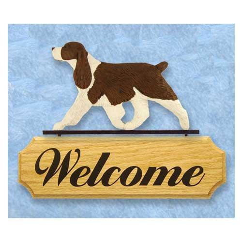 Michael Park Dog in Gait Welcome Sign English Springer Spaniel Liver