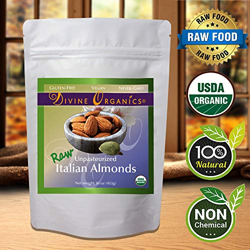 Raw Italian Almonds Divine Organics 16 oz 453 grams (16 oz)