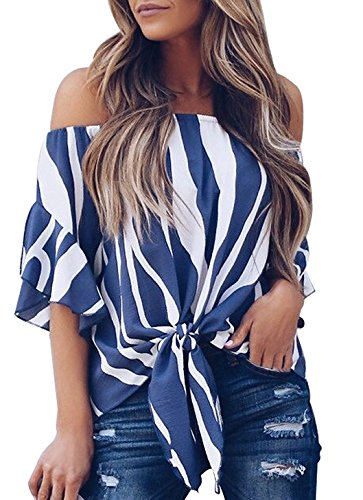 e Tie Front Boyfriend Shirts Blouse Plus Size Shirts Tops (Blue, XL) (Women Dolman Sleeve)