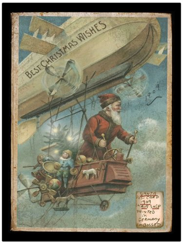 Ohio Wholesale Radiance Lighted Steampunk Canvas Wall Art - Santa Claus with Airship