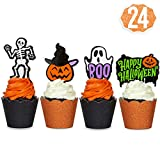 xo, Fetti Halloween Decorations Cupcake Toppers + Wrappers - set of 24...
