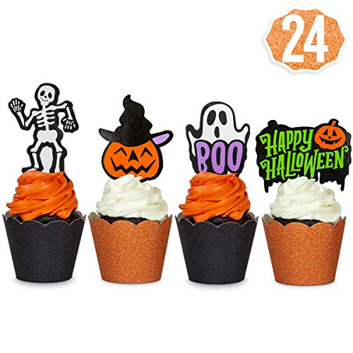 xo, Fetti Halloween Decorations Cupcake Toppers + Wrappers - set of 24 | Happy Halloween, Skeletons, Ghosts, Pumpkins + More -