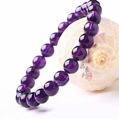 Nongkhai shop 8mm Genuine Natural Purple Amethyst Crystal Round Gemstone Beads Bracelet ()