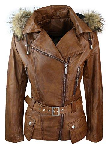 vente chaude en ligne fd135 8ded9 Manteau Veste Parka d'hiver Marron pour Femme en Cuir véritable Capuche en  véritable Fourrure