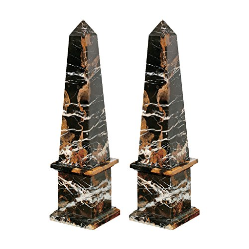 Design Toscano Grande Solid Marble Obelisk: Set of Two Statues, Black ()