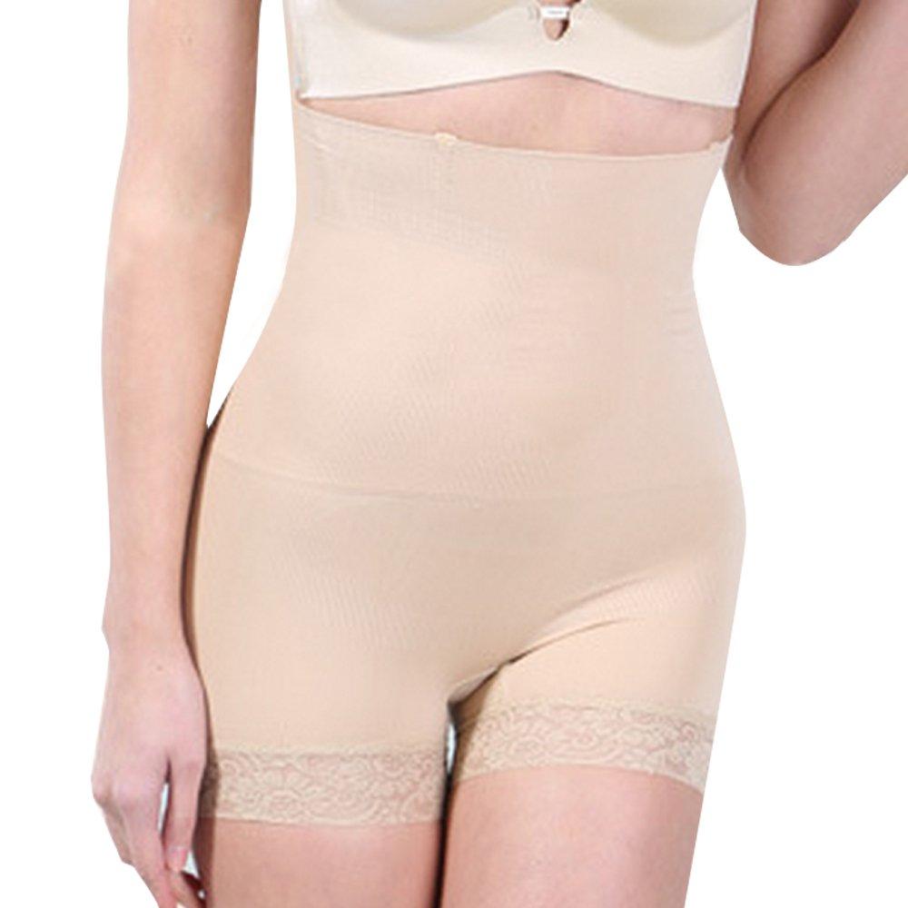 Defitshape Women's Tummy Control Panties High Waisted Lace Seamless Body Shapewear Nude US S (TagM/L)