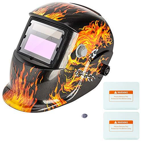 Z ZTDM Welding Helmet, Solar Powered Auto Darkening Hood, Welder Mask with Adjustable Wide Shade Range 4/9-13, Protective Gear, 2 Extra Lens & Battery for ARC MIG TIG (Flame Skeleton)