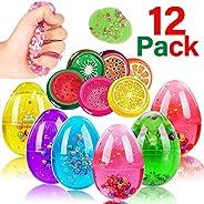 iGeeKid 12 Pack Easter Basket Stuffer Slime Eggs Easter Slime Party Favor for Kids Boys Girls Easter Gift
