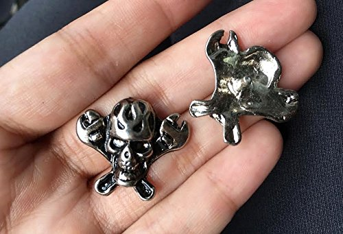 10Set Antique Silver Skull Wrench Cross Rivet Leather Brad Concho Nailhead RV8221 ()