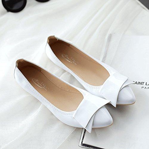 GAOLIM Tortillas Zapatos De Mujer Señaló Zapatos Planos Solo Verano Mujer Zapatos Ligeros, Cómodos Y Blandos De Granos De Soja Grandes Astilleros Zapatos Zapatos De Mujer 41-43 Blanco