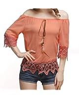 POISON IVY women's Orange Feather Hanging Off Shoulder Bottom Lace Net Top