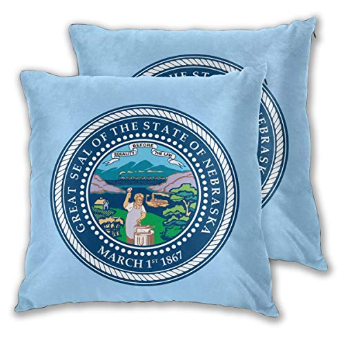 AW-KOCP Pack of 2 State Seal of Nebraska Decorative Throw Pillow Covers for Pillowcase, Many Pattern & Size Options