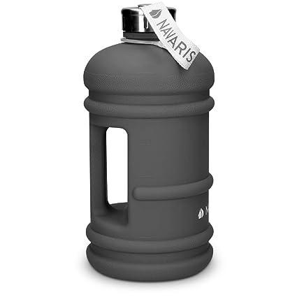 Navaris Botella Deportiva XXL - Bidón de Agua sin BPA - Cantimplora con Tapa y asa - Botella Grande de 2.2 litros para Hacer Deporte