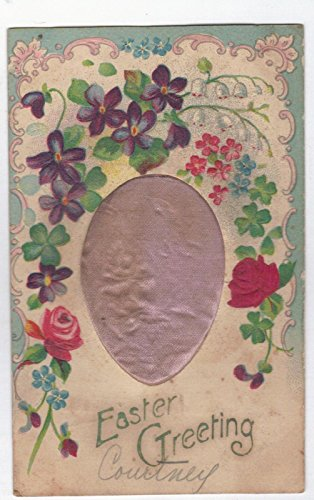 Antique Easter Greeting Silk Coushion Egg with Flowers Clovers Postcard N2701