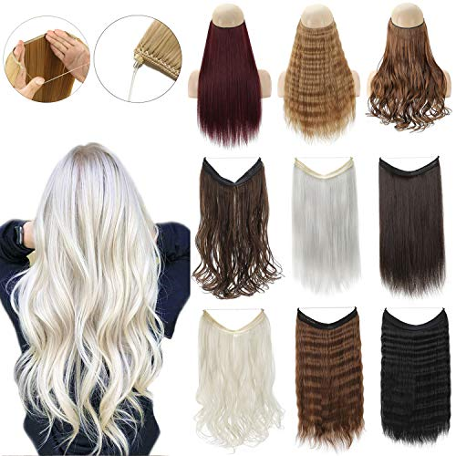 XBwigs Straight Curly Hair Extensions 2019 Realistic Hair Natural Fluffy No Clip In Hair Extensions Invisible Crown Wavy Hairpieces 22