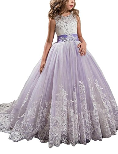 Yc Y&C Girls Toddler Pageant Dresses For Teens Bow Flower Girls Dress 08 US Light Purple by Yc