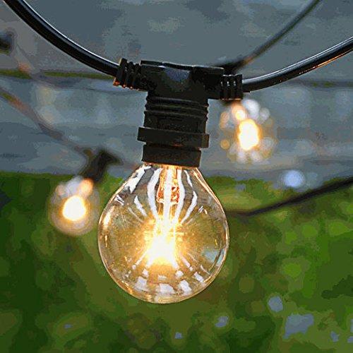 50 Socket Commercial Outdoor String Light w/ G40 Clear Globe Lights - Black