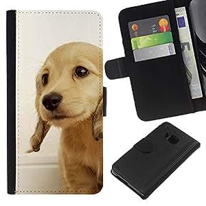 EJOY---La carpeta del tirón la caja de cuero de alta calidad de la PU Caso protector / HTC One M7 / --Perrito del golden retriever Perro británica Amarillo