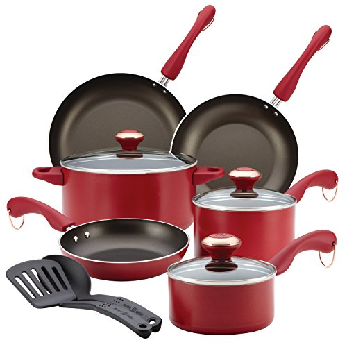 Paula Deen Signature Dishwasher Safe Nonstick Cookware Set, 11-Piece, Red