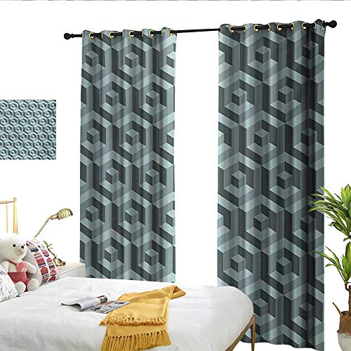 WinfreyDecor Modern Thermal Curtains Maze Style Digital Dimension Cube Abstract Futuristic Continuous Lines Artsy Graphic for Living, Dining, Bedroom (Pair) W120 x L96