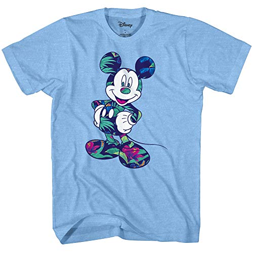 Disney Mickey Mouse Tropical Wash Disneyland World Tee Funny Humor Adult Mens Graphic T-Shirt Apparel (Light Blue Heather, Large)
