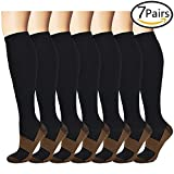 Compression Socks for Women & Men-for Medical, Nursing, Running & Fitness, Edema, Diabetic, Varicose Veins, Travel & Flight, Pregnancy, Nurse (L/XL, 7pairs)