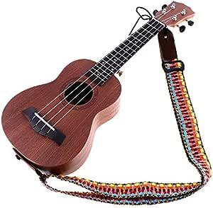 YiPaiSi Colorful Hawaiian Vintage Ethnic Cotton Ukulele Strap, Adjustable Soft Cotton & Genuine Leather Ukulele Strap Shoulder Strap, For Soprano Concert Tenor Baritone Strings Instruments