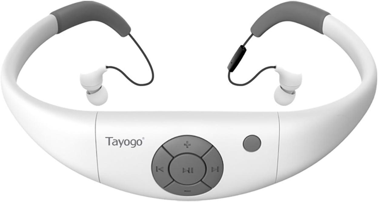 Tayogo Ipx8 Mp3 Acuatico Natacion, Ipx8 Auriculares De Natación con Bluetooth 4.2, FM, App-Blanco