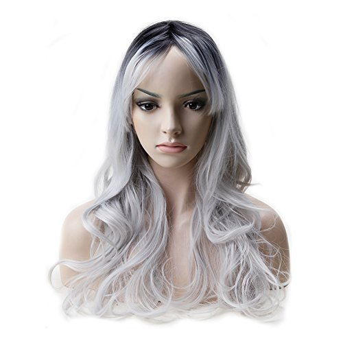 (Curly Long Anime Cosplay Synthetic Wig Omber 2 Tone Color Heat Resistant Fiber Full Wig with Bangs Layered Wavy 23''+Stretchable Elastic Wig Net,Natural Black to Silver Grey)
