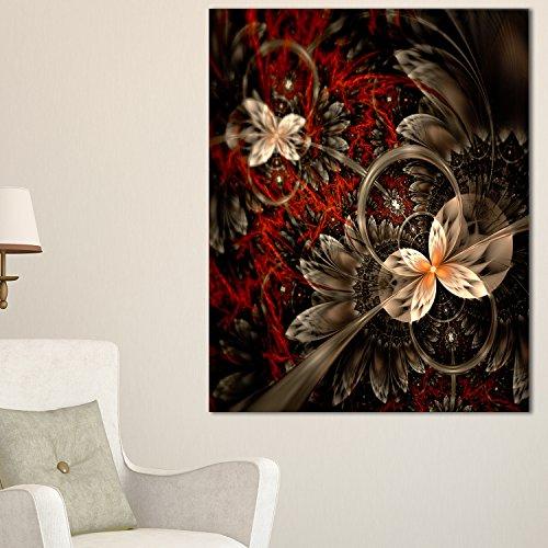 Red & Orange Fractal Flower Pattern Large floral canvas Art Print,Red,30x40