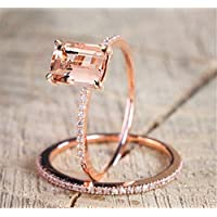 Phonphisai shop 2Pcs Ring/Set 18K Rose Gold Filled White Topaz Wedding Engagement Gift Size 5-10 (7)