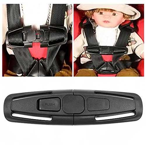 Gcepls Baby Car Seat Safety Clip Buckle Lock Tite Belt Harness Chest Clip Safe Buckle Latch Nylon PA66 for baby/Child (Black)