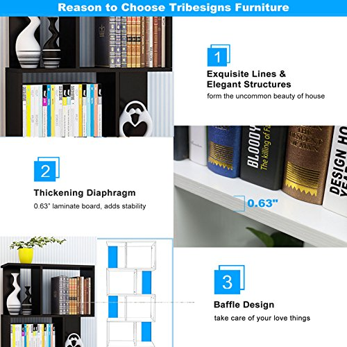 Tribesigns Simple Stylish 8-Shelf Bookcase Shelving Display Storage Unit for CD Book Home Decor (Black)