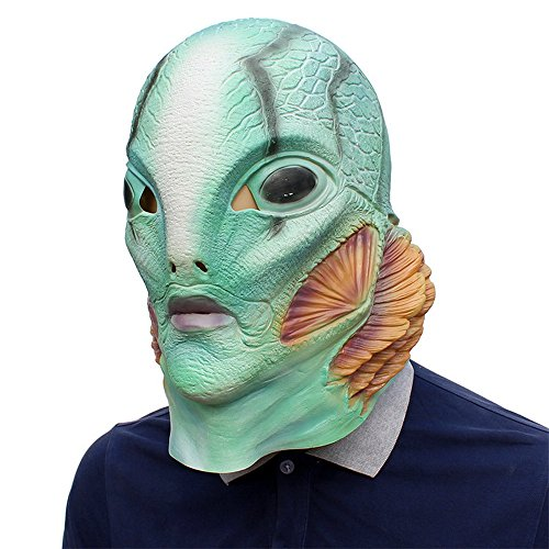 Abe Sapien Mask HB Cosplay Helmet Full Head Latex B.P.R.D. Helmet Halloween Costume Prop Fancy Ball Mask Green