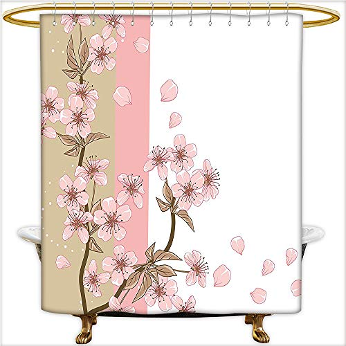 Qinyan Home Decor Shower Curtains Romantic Sakura Blooms Flowers Petals Spring Wind Eastern Nature Theme